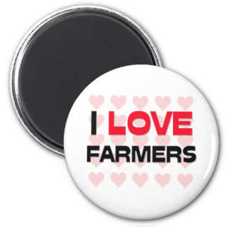 I LOVE FARMERS 6 CM ROUND MAGNET