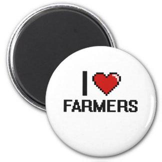 I love Farmers 6 Cm Round Magnet