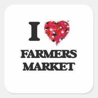 I Love Farmers Market Square Sticker