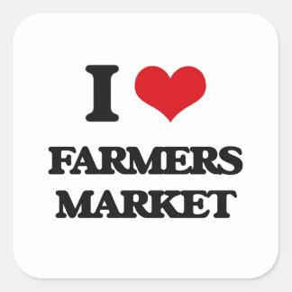 I love Farmers Market Square Stickers