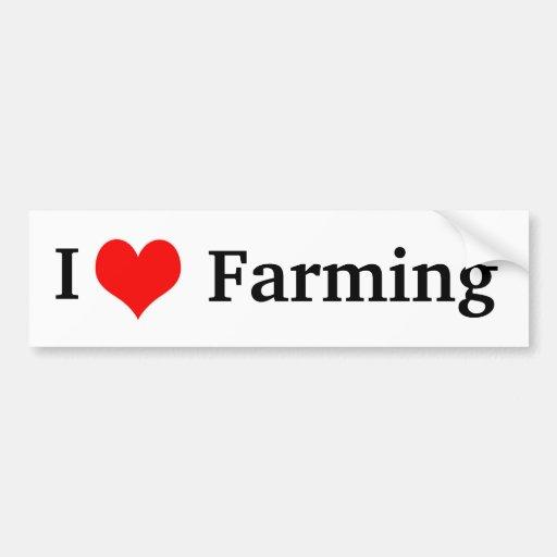 I Love Farming Bumper Sticker