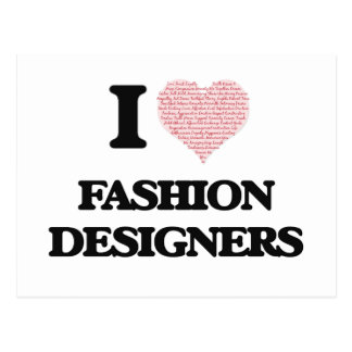 I love Fashion Designers (Heart made from words) Postcard