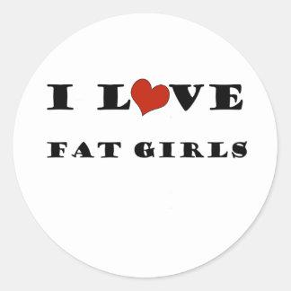 I Love Fat Girls Round Stickers
