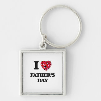 I Love Father'S Day Silver-Colored Square Key Ring