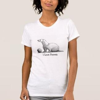 I Love Ferrets: Original Pencil Drawing T-Shirt