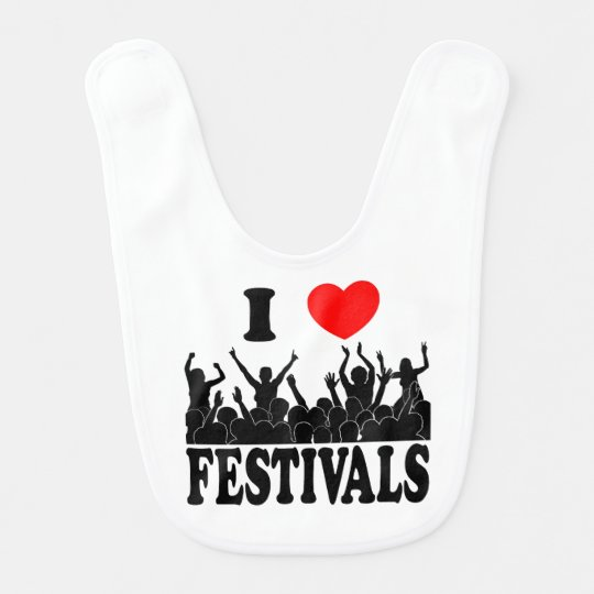 I Love festivals (blk) Bib