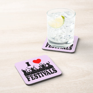 I Love festivals (blk) Drink Coaster