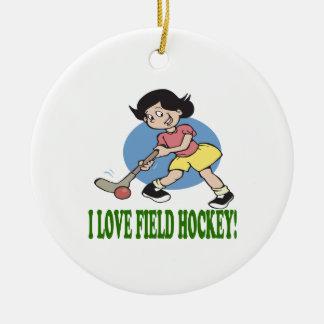 I Love Field Hockey 2 Christmas Ornament