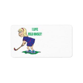I Love Field Hockey Address Label