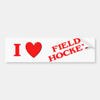 I Love Field Hockey Bumper Sticker