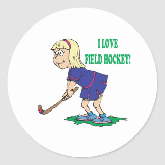 I Love Field Hockey Classic Round Sticker