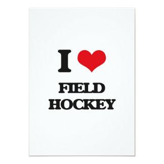 """I love Field Hockey 5"""" X 7"""" Invitation Card"""