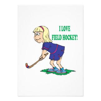 I Love Field Hockey Invitations