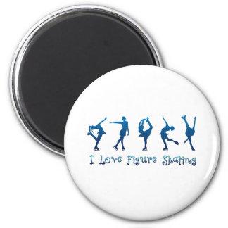 I love figure skating- blue 6 cm round magnet
