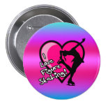 I love figure skating button, on pink & purple 7.5 cm round badge
