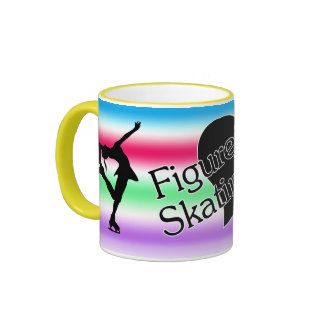 I love figure skating, heart, colorful mug