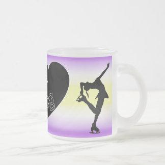 I love figure skating, heart, purple, yellow mug