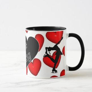 I love figure skating, hearts & skater mug
