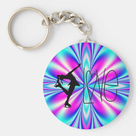 I Love Figure Skating Key Chains - Blue
