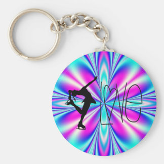 I Love Figure Skating Key Chains - Blue & Pink