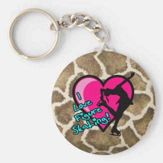 I Love Figure Skating pink heart  & giraffe print Basic Round Button Key Ring