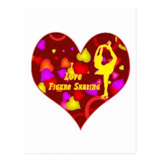 I Love Figure Skating Retro Design Heart Postcard