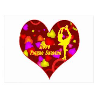 I Love Figure Skating Retro Design Heart Postcards
