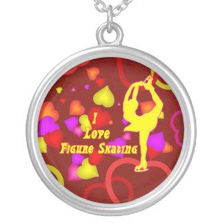 I Love Figure Skating Retro Design Necklace