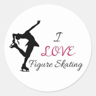 I Love Figure Skating Round Sticker