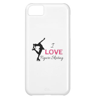 I LOVE Figure Skating, Snowflakes & Skater Case For iPhone 5C