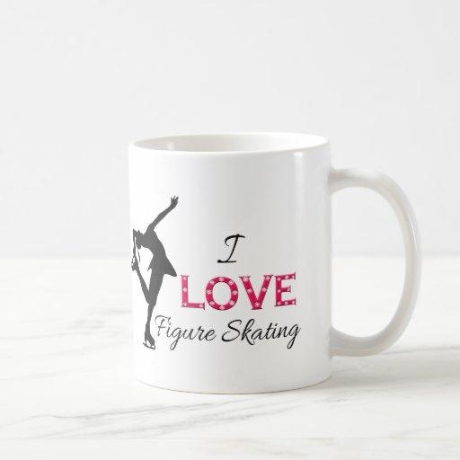 I LOVE Figure Skating, Snowflakes & Skater Mugs