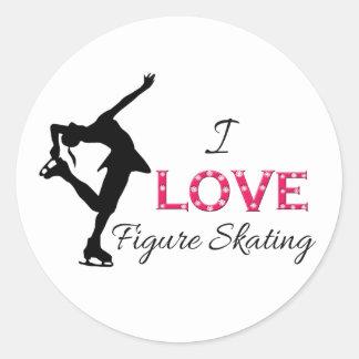 I LOVE Figure Skating, Snowflakes & Skater Round Sticker