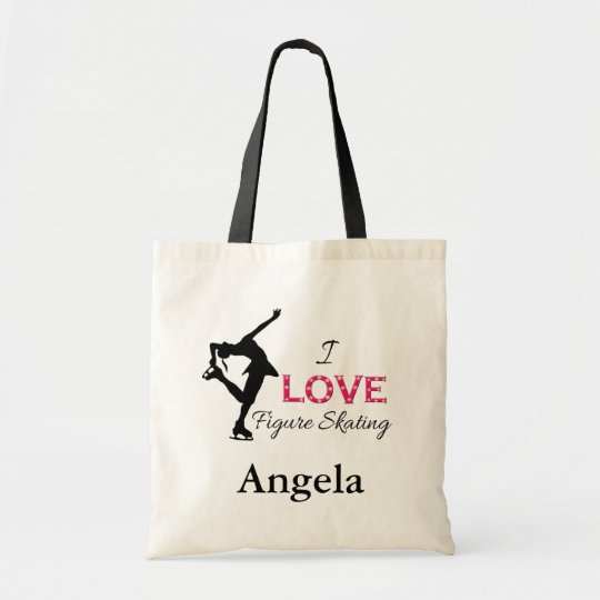 I LOVE Figure Skating, Snowflakes, Skater Tote Bag