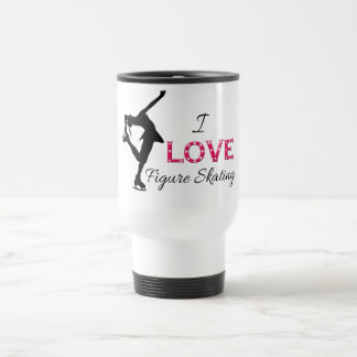 I LOVE Figure Skating, Snowflakes & Skater Travel Mug