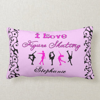 I Love Figure Skating w skaters Pink Pillows