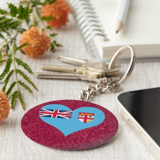 I Love Fiji Basic Round Button Key Ring
