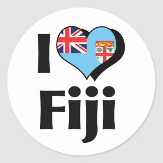 I Love Fiji Flag Classic Round Sticker