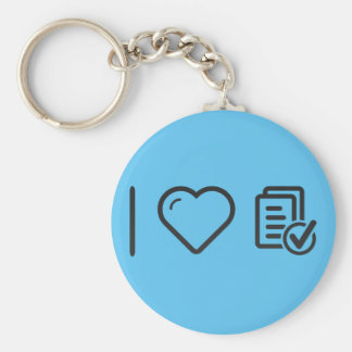 I Love File Checkers Basic Round Button Key Ring