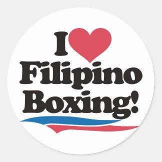 I Love Filipino Boxing Round Sticker