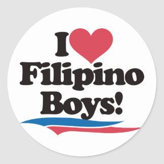 I Love Filipino Boys Classic Round Sticker