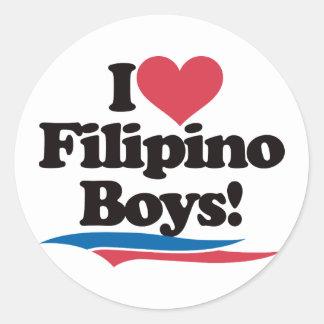 I Love Filipino Boys Round Sticker