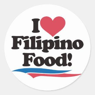 I Love Filipino Food Round Stickers