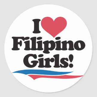 I Love Filipino Girls Classic Round Sticker