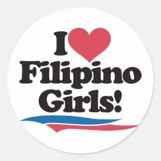 I Love Filipino Girls Round Sticker