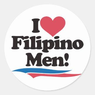 I Love Filipino Men Round Stickers