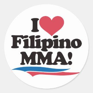 I Love Filipino MMA Round Sticker