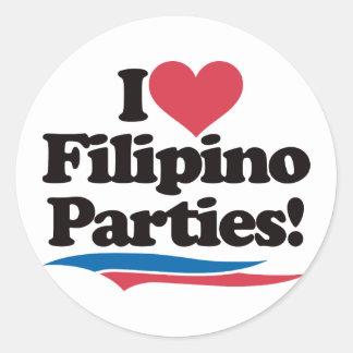 I Love Filipino Parties Round Sticker