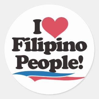 I Love Filipino People Round Sticker