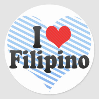 I Love Filipino Round Sticker