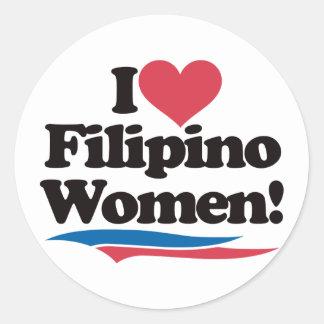 I Love Filipino Women Round Stickers